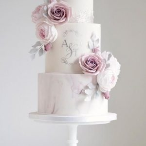 Marbled Wedding Cake with initial