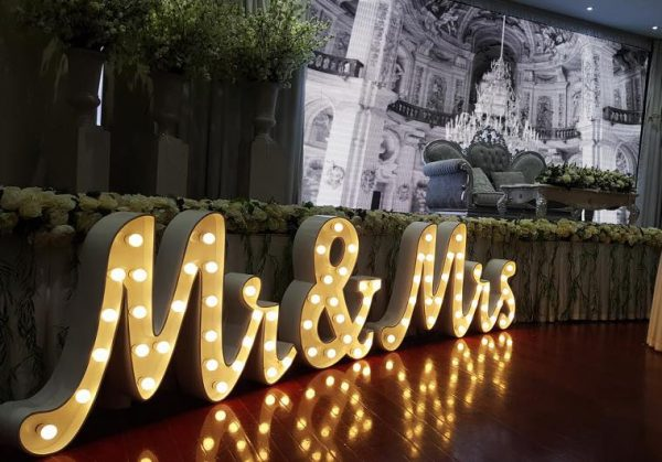 mr and mrs cursive light up letters