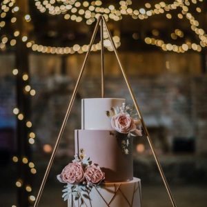 Fun funky matte wedding cake