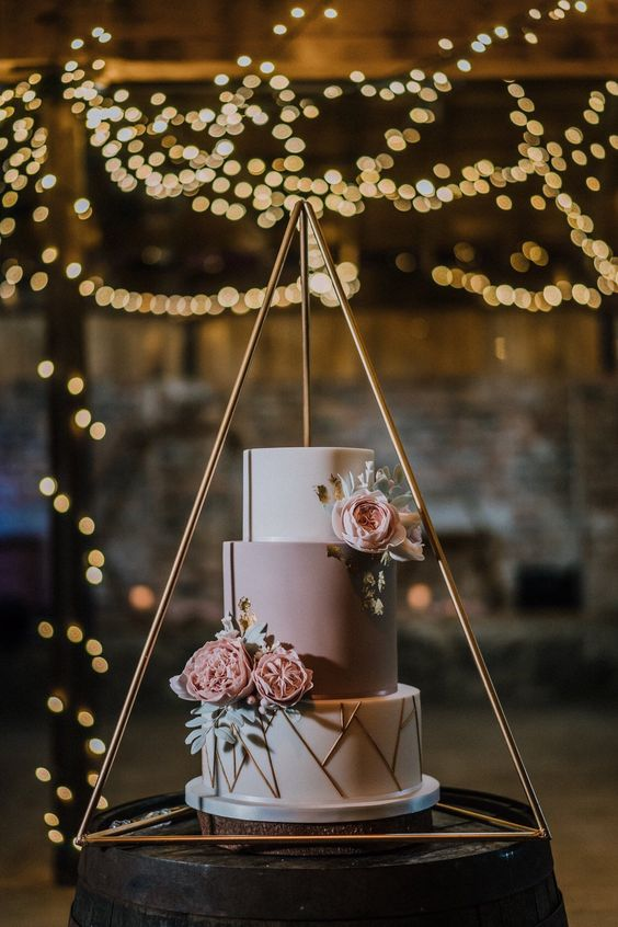 Fun funky matte wedding cake