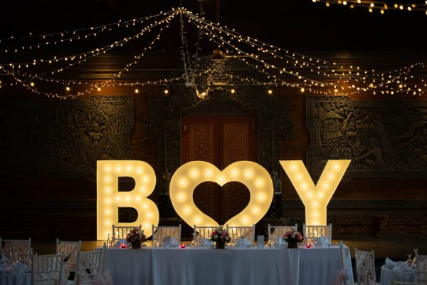Light up baby shower letters bali