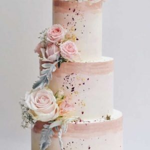 Romantic pastel pink wedding cake