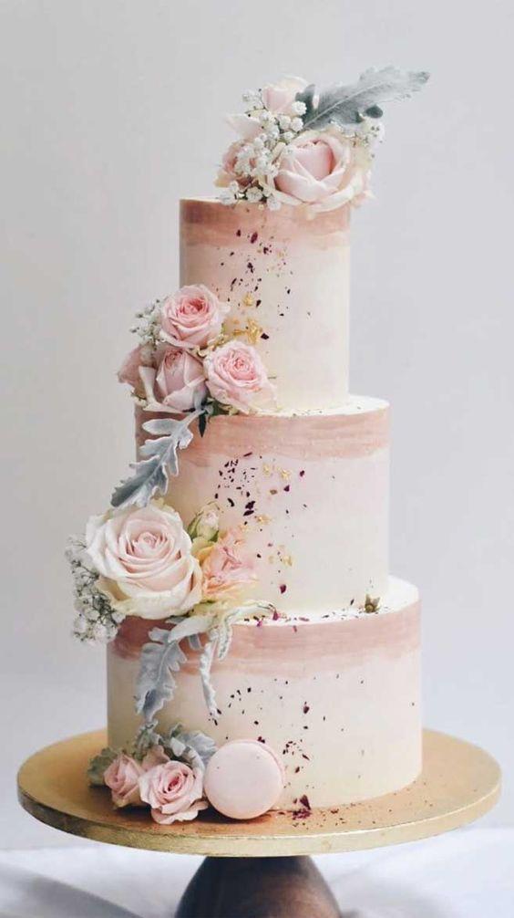 Romantic pastel pink wedding cake
