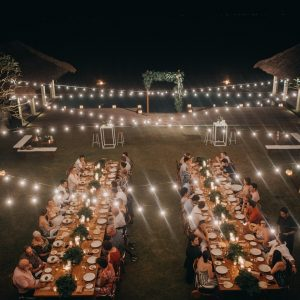 festoon lighting at bali wedding