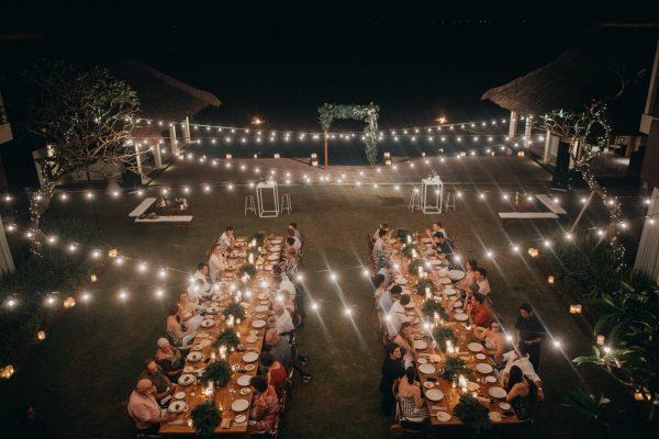 festoon lighting at bali wedding