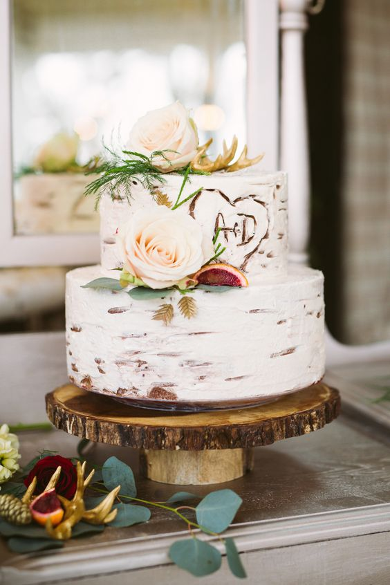 Classic Semi Naked Cake with Initials
