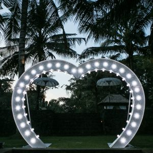 light up love heart arch bali