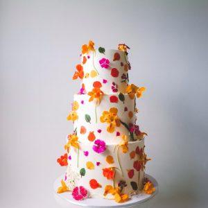 Bright floral festive cake