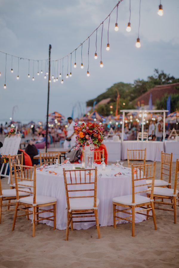 festoon lights on beach bali