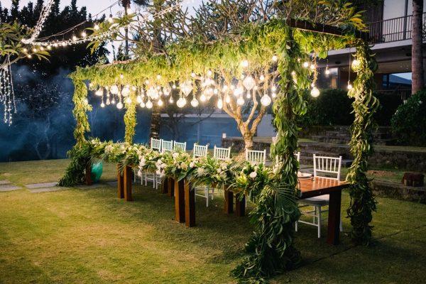 overhead greenery bali wedding
