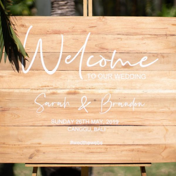 Cursive Wooden Welcome Sign