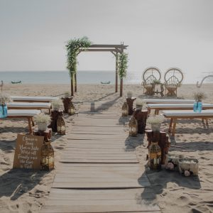 Ceremony set beach rustic