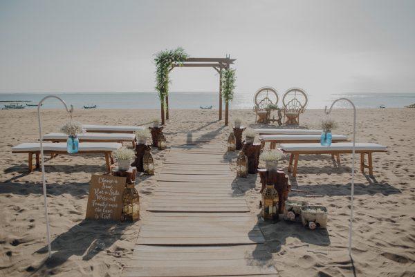 Ceremony set beach rustic