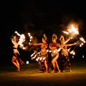 fire dancers bali wedding