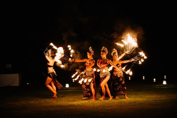 fire dancers bali wedding