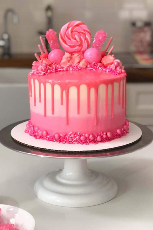 Pink Drip Cake with Sweets