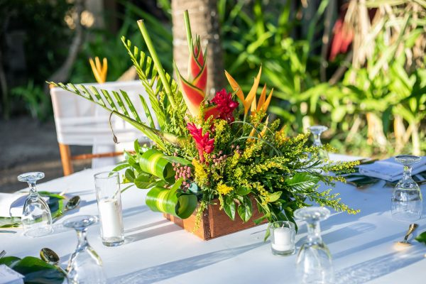 Tropical vibes box centerpiece